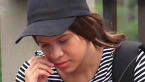 Sad Lonely Depressed Female Teen Student stock video