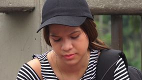 Sad Lonely Depressed Female Teen Student stock video footage