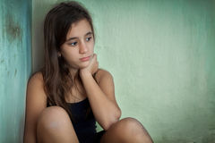 Sad and lonely hispanic girl Royalty Free Stock Photo