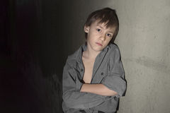 Sad lonely little boy Royalty Free Stock Images