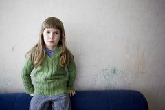 Sad lonely little girl Royalty Free Stock Photo
