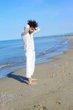Sad lonely man with broken hear on the beach Stock Photos