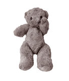 Sad and Lonely Teddy Bear. Very old and worn Teddy bear in sad pose because he got left behind by a child after stay in hospital Stock Photos