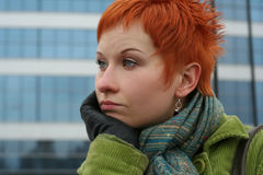 Sad, lonely woman. Red-haired sad, lonely woman in depression and pensive feelings royalty free stock photos