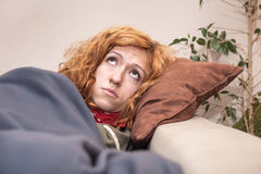 Sad lonely woman looking up Royalty Free Stock Photos