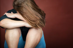Sad and lonely young woman crying Royalty Free Stock Photography