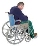 Sad Lonely Senior Elderly Man Wheelchair,. A sad lonely elderly man sits in a wheelchair. isolated on white Royalty Free Stock Images