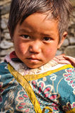 Sad look up in Nepal Stock Photography