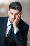 Sad looking business man portrait Royalty Free Stock Photos