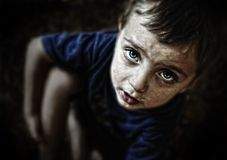 Sad looking child portrait Royalty Free Stock Photos
