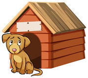 Sad looking dog in front of doghouse. Illustration stock illustration