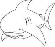 Sad looking great white shark. Coloring book illustration Stock Photos