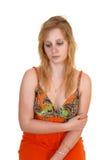 A sad looking teen girl. stock photography