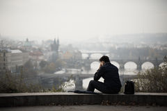 Sad man. In autumn park, Prague Royalty Free Stock Image