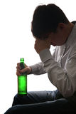 Sad Man in Alcohol addiction Stock Image