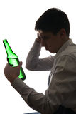 Sad Man in Alcohol addiction Stock Photo