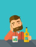 Sad man alone in the bar drinking beer Stock Photography