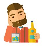 Sad man alone in the bar drinking beer Stock Image