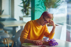 Sad Man Alone in Cafe Stock Photos