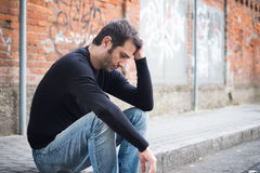 Sad man alone in the city Stock Photography