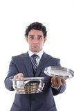 Sad man asking for lunch Stock Images