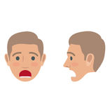 Sad Man Avatar User Pic. Front and Side Head View. Shocked man avatar user pic. Vector of front and side view of person troubled boy with open mouth. Male head Royalty Free Stock Photo