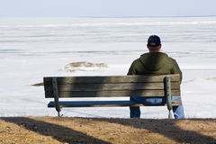 Sad man on a bench Royalty Free Stock Photography
