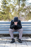 Sad Man on the Bench Royalty Free Stock Photo
