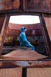 Man environment mask dark facemask icon protective overall blue orange rast factory disused catastrophe chernobyl. Sad man in blue protective overall on lost royalty free stock photos