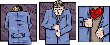 Sad man with broken heart comics Stock Photography