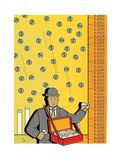 Sad man in a business suit sells shares. Money rain from the sky. Peddler. Trade. The peddler of goods. Stock Exchange.  royalty free illustration