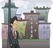 A sad man cartoon. The sad man in a hat costs in the street Royalty Free Stock Image