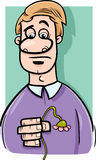 Sad man cartoon illustration Stock Image