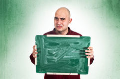 Sad man with chalkboard Stock Photos