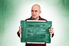 Sad man with chalkboard Stock Photos