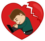 Sad Man Crying in a Broken Heart Stock Images