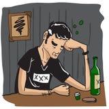 Sad man drinking Royalty Free Stock Photo