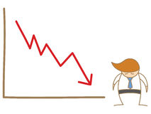 Sad man and drop graph Stock Images