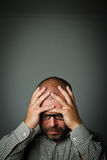 Sad man. Grief. Expressions, feelings and moods. Man in thoughts Stock Images