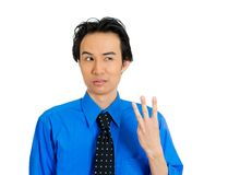 Sad man holding number three gesture Royalty Free Stock Photo
