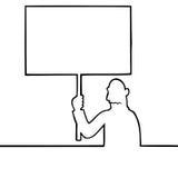 Sad man holding a protest sign. Black line art illustration of a sad man holding a protest sign Royalty Free Stock Photos