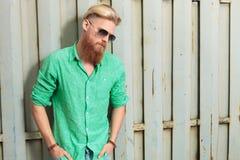 Sad man with long beard looking down Stock Photography