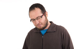 Sad man looking down isolated Stock Photography
