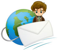 A sad man in the middle of the envelope and the globe Stock Photography