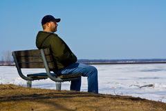 Sad Man On A Bench Royalty Free Stock Photos