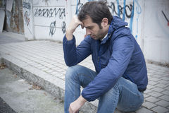 Sad man portrait city Stock Images