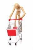 Sad man pushing a empty shopping cart Stock Image
