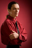 Sad man in red shirt Stock Photography