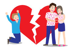 Sad man seeing love couple with broken heart shape background in concept of being broken heart.  Stock Image