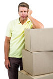Sad man standing by with boxes Royalty Free Stock Photo